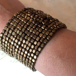 Boho gold beaded cuff